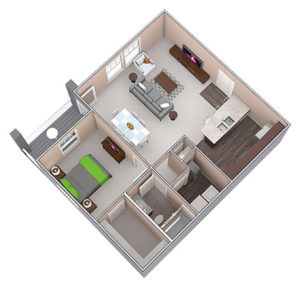 The Abbot is a one bedroom apartment, featured at the District of Linworth