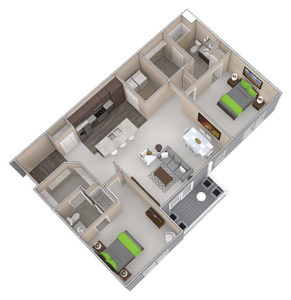 The Barker is a Two Bedroom apartment, featured at the District at Linworth