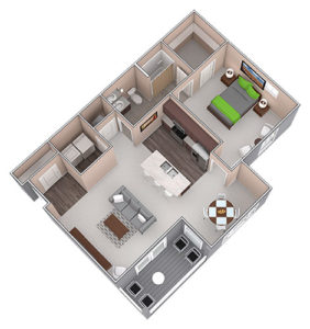The Capri is a One Bedroom apartment, featured at the District at Linworth