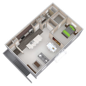 The Carriage House is a One Bedroom apartment, featured at the District at Linworth