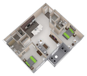 The Drake is a Two Bedroom apartment, featured at the District at Linworth